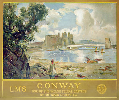 Scottish Drawing - Conway Castle by Sir David Murray