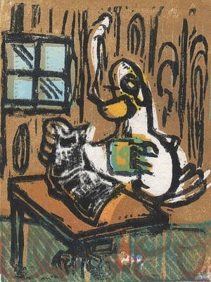 Lino Painting - Cooked Goose by Mathew Luebbert