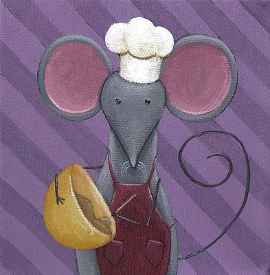 Mouse Painting - Cooking Mouse Kitchen Art by Christy Beckwith