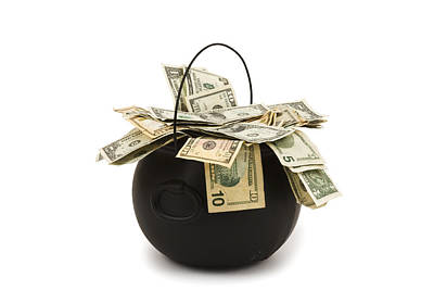 cooking Pot full of Money White Background Print by Keith Webber Jr