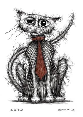 Moggy Drawing - Cool Cat by Keith Mills