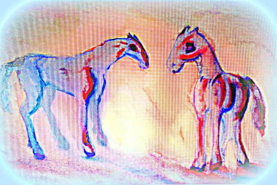 Separation Painting - Two Horses In A Bubble Of Love  by Hilde Widerberg