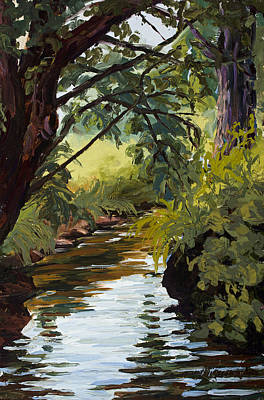Pallet Knife Painting - Cool Diversion by Mary Giacomini