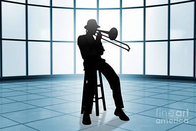 Trombone Mixed Media - Cool Jazz 1 by Bedros Awak