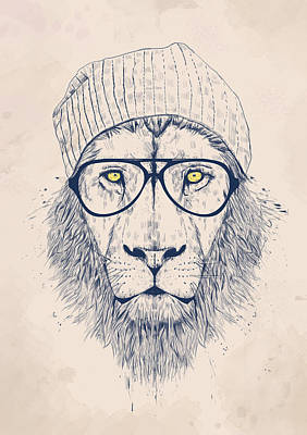 Glass Drawing - Cool Lion by Balazs Solti