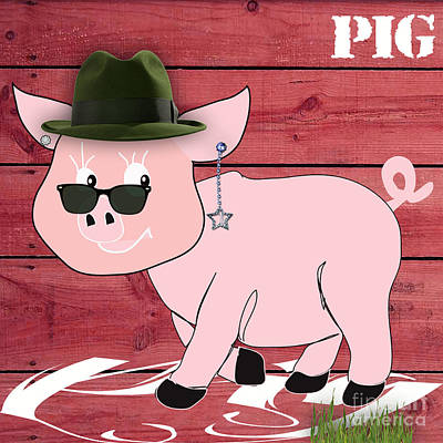 Baby Mixed Media - Cool Pig Collection by Marvin Blaine