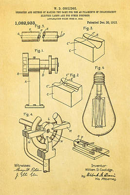 Coolidge Incandescent Lighting Patent Art 1913 Print by Ian Monk