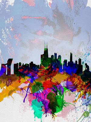 Denmark Painting - Copenhagen Watercolor Skyline by Naxart Studio