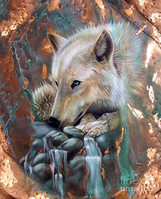 Copper Painting - Copper Arctic Wolf by Sandi Baker