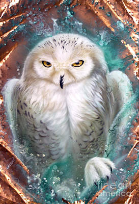 Raptor Painting - Copper Snowy Owl by Sandi Baker
