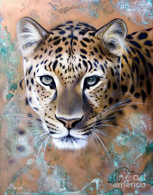 Patina Painting - Copper Stealth - Leopard by Sandi Baker