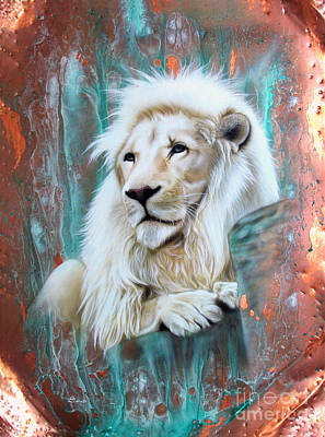 Patina Painting - Copper White Lion by Sandi Baker
