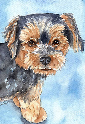 Yorkshire Terrier Art Painting - Copper Yorkie Yorkshire Terrier Dog Watercolor by Cherilynn Wood