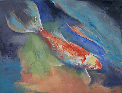 Butterfly Koi Painting - Coral And Moonstone by Michael Creese