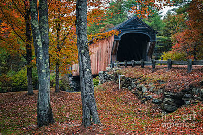 New Hampshire Autumn Photograph - Corbin Covered Bridge Newport New Hampshire by Edward Fielding