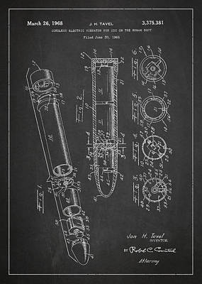 Cordless Vibrator Patent Drawing From 1966 Print by Aged Pixel
