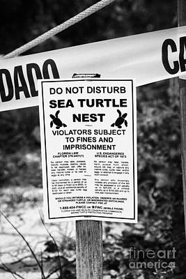 Cordoned Off Sea Turtle Nest With Warning Sign Dry Tortugas Florida Keys Us Print by Joe Fox