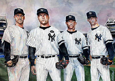 Jeter Painting - Core 4 Yankees  by Michael  Pattison