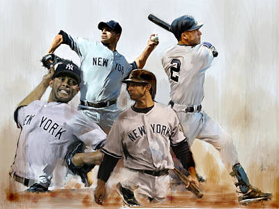 New York City Drawing - Core  Derek Jeter Mariano Rivera  Andy Pettitte Jorge Posada by Iconic Images Art Gallery David Pucciarelli
