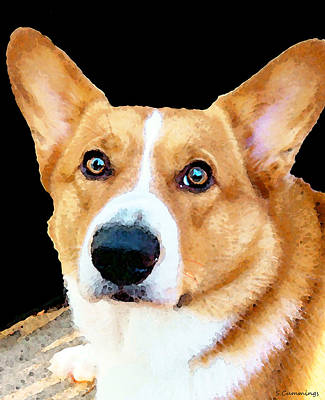Veterinarian Digital Art - Corgi Art - Pensive  by Sharon Cummings
