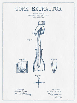 Wine Bottle Digital Art - Cork Extractor Patent Drawing From 1878- Blue Ink by Aged Pixel
