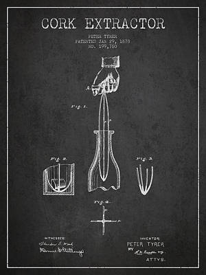 Wine Bottle Digital Art - Cork Extractor Patent Drawing From 1878 - Dark by Aged Pixel