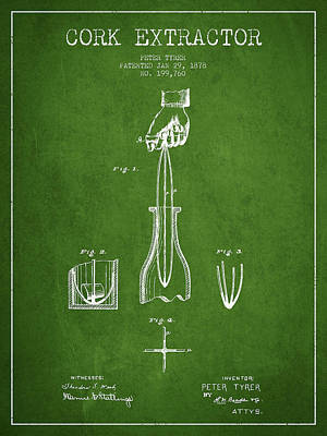 Wine Bottle Digital Art - Cork Extractor Patent Drawing From 1878 -green by Aged Pixel