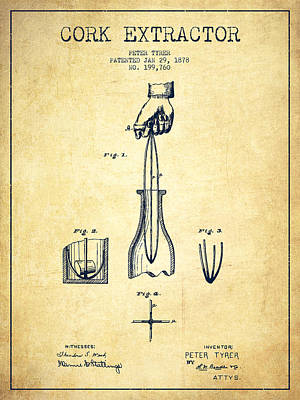 Wine Bottle Digital Art - Cork Extractor Patent Drawing From 1878 -vintage by Aged Pixel