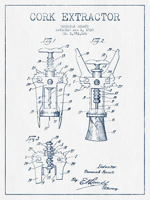 Wine Bottle Digital Art - Cork Extractor Patent Drawing From 1930- Blue Ink by Aged Pixel
