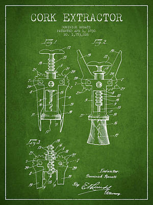 Wine Bottle Digital Art - Cork Extractor Patent Drawing From 1930 - Green by Aged Pixel