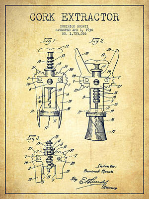 Bottles Digital Art - Cork Extractor Patent Drawing From 1930 - Vintage by Aged Pixel