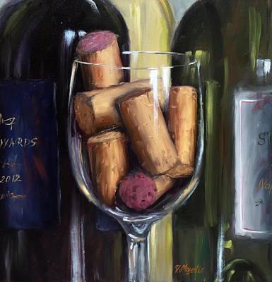 Hand Painted Wine Glass Painting - Corkfull by Viktoria K Majestic