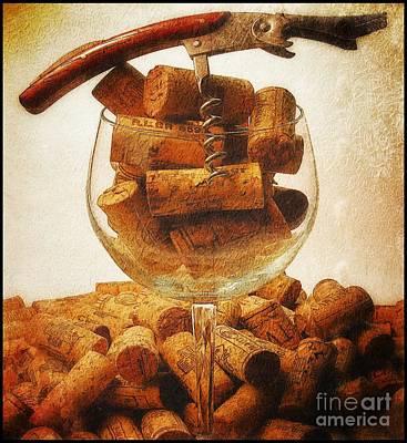 Wine Cellar Photograph - Corks And Elegant Corkscrew by Stefano Senise