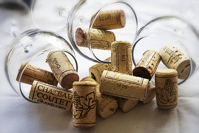 Wine Bottle Wall Art Photograph - Corks And Glasses by Georgia Fowler