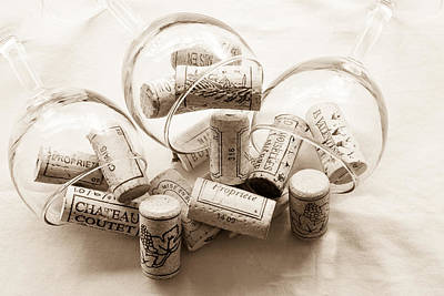 Corks And Glasses Toned Print by Georgia Fowler