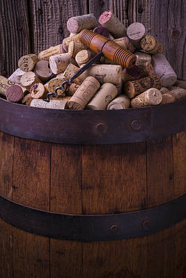Corkscrew And Corks On Wine Barrel Print by Garry Gay