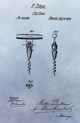 Tasting Mixed Media - Corkscrew Patent by Dan Sproul