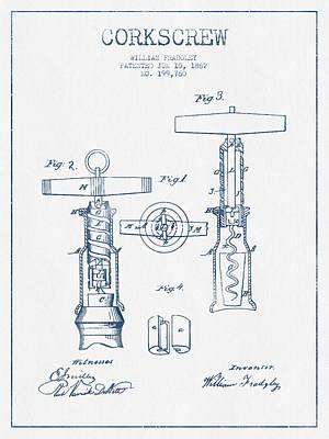 Wine Bottle Digital Art - Corkscrew Patent Drawing From 1862 - Blue Ink by Aged Pixel