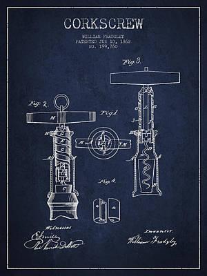 Wine Bottle Digital Art - Corkscrew Patent Drawing From 1862 - Navy Blue by Aged Pixel