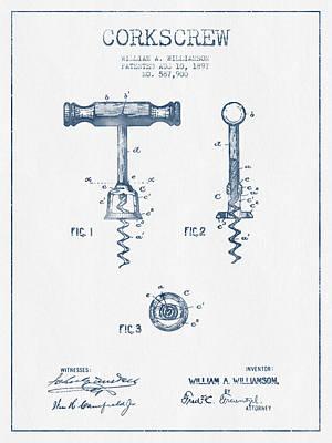 Wine Bottle Digital Art - Corkscrew Patent Drawing From 1897 - Blue Ink by Aged Pixel