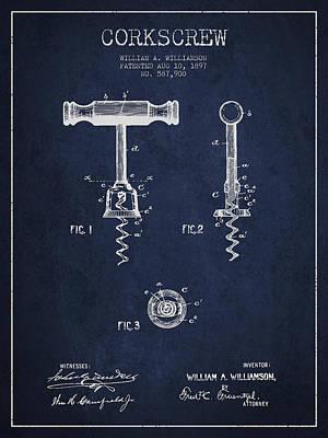 Wine Bottle Digital Art - Corkscrew Patent Drawing From 1897 - Navy Blue by Aged Pixel