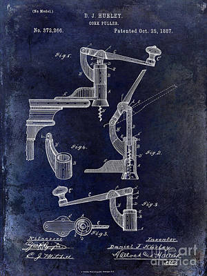 Winery Photograph - 1887 Corkscrew Patent Drawing by Jon Neidert