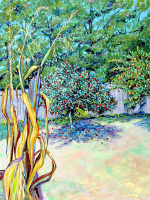 Landscape-like Art Painting - Corn Stalk And Apple Tree  Autumn Lovers by Asha Carolyn Young