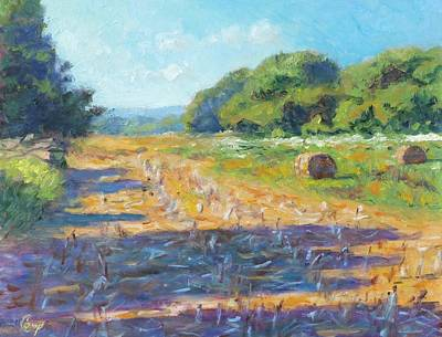 Bales Painting - Corn Stubble In Late July by Michael Camp