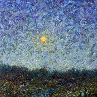 Moon Painting - Cornbread Moon - Square by James W Johnson