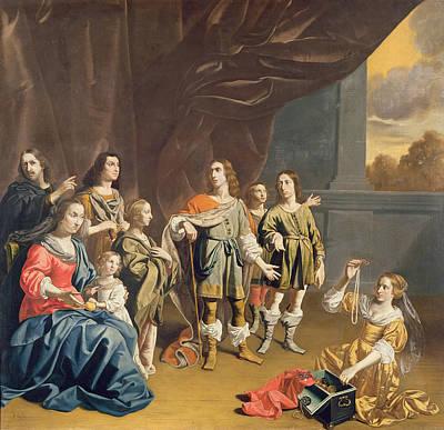 Cornelia And Her Jewels Oil On Canvas Print by Jan van Bijlert or Bylert