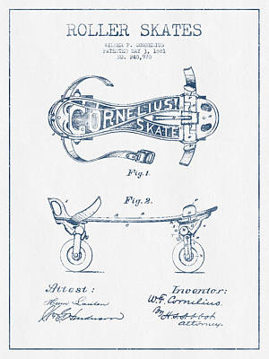 Cornelius Roller Skate Patent Drawing From 1881  - Blue Ink Print by Aged Pixel