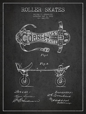Skating Digital Art - Cornelius Roller Skate Patent Drawing From 1881 - Dark by Aged Pixel