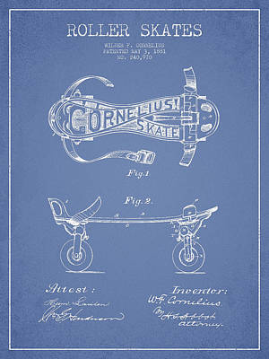 Cornelius Roller Skate Patent Drawing From 1881 - Light Blue Print by Aged Pixel