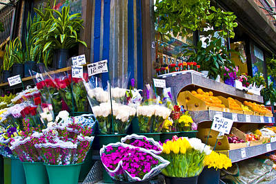 Corner Flower Stand Print by Larry Goss